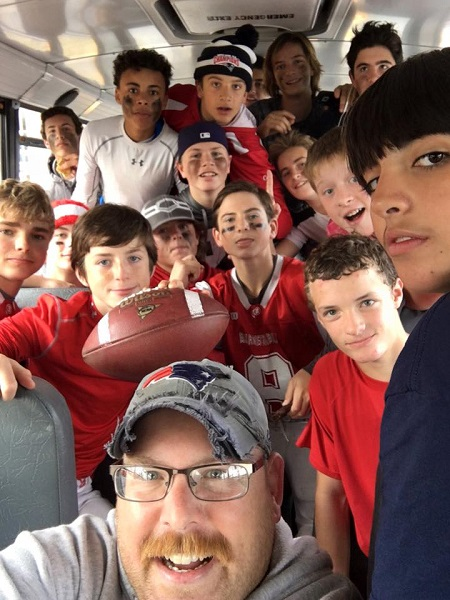 Coach Kris Dumas catches a great selfie of the Freshman team after their defeat of the Dennis-Yarmouth Dolphins last Saturday!