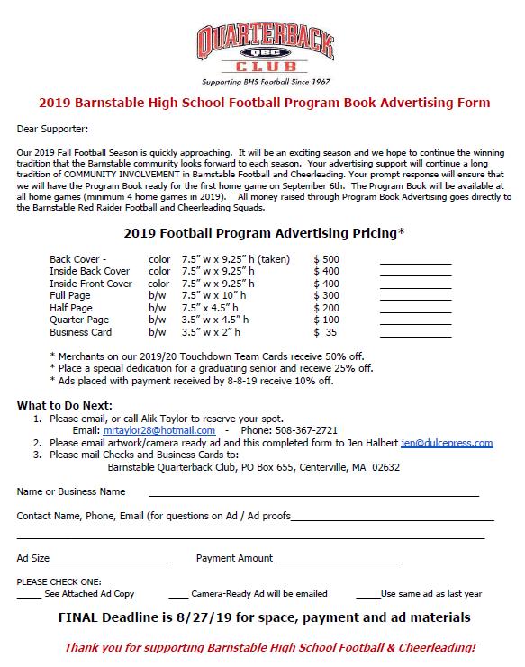 2019 BHS Football & Cheer Media Guide Advertising Form
